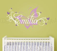 Hey, I found this really awesome Etsy listing at https://www.etsy.com/listing/98792436/butterfly-and-custom-name-wall-decal