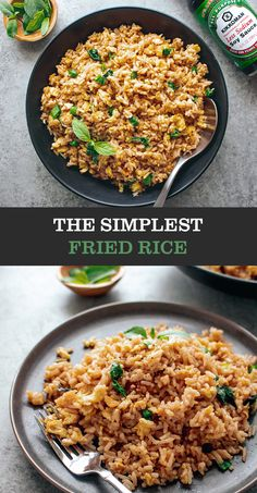 Side Dish Recipes, Lunch Recipes, Healthy Dinner Recipes, Asian Recipes, Vegetarian Recipes, Cooking Recipes, Rice Side Dishes, Food Dishes, Basil Fried Rice