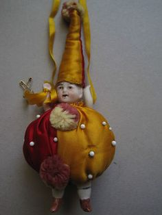 RARE Antique Bisque China Doll Clown Pin Cushion Miniature Sewing Satin Costume