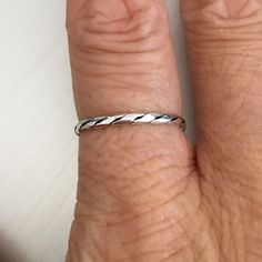 Sterling Silver Mirco Twist  Ring, Toe Ring, Pinky Ring, Midi Ring, Knuckle Ring, Index Ring, Thumb Ring by IndigoandJade on Etsy