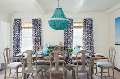 Amanda Nisbet Design: Colorful cottage dining room with Currey & Company Hedy Chandelier over salvaged wood, whitewash, limewash, natural shades, turquoise, purple