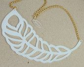 Laser cut acrylic Statement necklace in white / feather bib choker