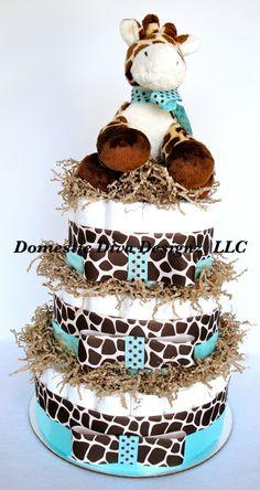 Pañal Cake jirafa tema azul y marrón bebé por DomesticDivaDesignz