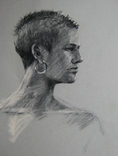 Laura in Profile charcoal drawing by Jill Stefani Wagner