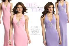 Camille La Vie Plunge Jersey Evening Halter Prom dress in Pink and Lilac