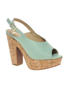 ASOS HEPBURN Leather Slingback Platform High Sandals