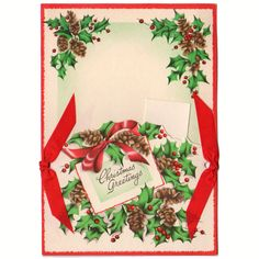 Vintage 1950s Unused Christmas Card Red Ribbons and Pine Cones