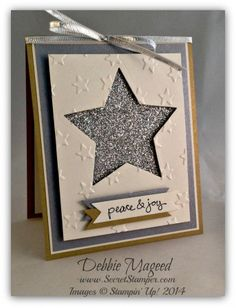 2014 Stamp Set: Good Greetings Paper: Brushed Gold, Brushed Silver, Shimmery White, Dazzling Diamonds Glimmer Paper Ink: Memento Black SU Tools: Stars Framelits, Lucky Stars Emboss Folder, Bitty Banners Framelits Finishing Touch: Silver 1/8″ Ribbon