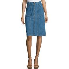 Mih Jolla Denim Skirt ($61) ❤ liked on Polyvore featuring skirts, stone blue, blue slip, knee length denim skirt, a line slip, denim skirt and slip skirt