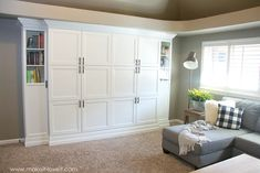 How to Turn IKEA Bookshelves into CUSTOM BUILT-INS | Make It and Love It Murphy Bed Ikea, Murphy Bed Plans, Ikea Built In, Custom Bookshelves, Bookshelves Ikea, Bookshelf Ideas, Modern Murphy Beds, Ikea Closet, Built In Cupboards