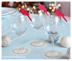 Cardinal wine glass toppers and paper doily coasters. Winter Wonderland Party, Paper Doilies, Svg Cuts, Happy Holidays, Wine Glass, Tableware, Creative, Projects, Christmas
