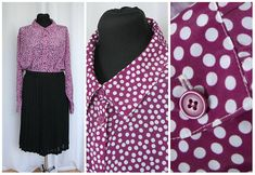 XXL Polka Dot Vintage Blouse Red White Long Sleeve  90s  Purple  Elegant Secretary With Collar Office Blouse  Fashion Size 54 extra large