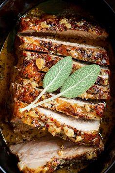 Creamy Garlic Pork Loin in Crockpot — Easy, comforting and tender pork loin in crockpot with the creamiest garlic sauce ever.