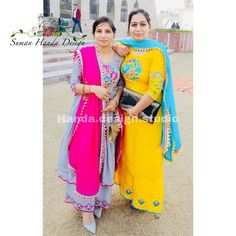 Thanku for being with us ❤️❤️ Sister twining 🤪 . Latest Punjabi Suits Design, Designer Punjabi Suits, Patiala Suit Designs, Kurta Designs Women, Punjabi Suits Party Wear, Salwar Suits Simple, Function Dresses, Embroidery Suits Design, Embroidery Designs