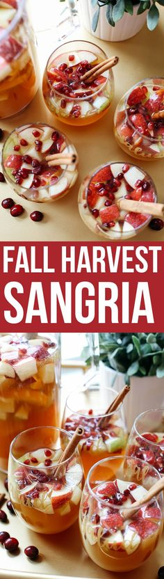 This Fall Harvest Sangria is the perfect holiday cocktail filled with crisp apples, pears, cranberries, cinnamon sticks and fresh apple cider! Thanksgiving Sangria, Thanksgiving Alcoholic Drinks, Holiday Sangria, Fall Drinks Alcohol, Alcoholic Punch, Winter Sangria, Thanksgiving 2017, Holiday Drinks, Christmas Cocktails