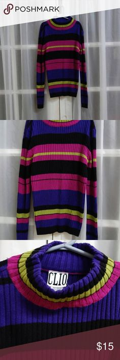 90s Grunge Ribbed Tri-color Turtleneck CLIO *PLEASE NOTE: the cool royal blue stripes are actually a deep warm plum purple! my camera lense was altering the color to a cooler hue !! BAsic fun cotton ribbed turtle neck longsleeves for 90s look. Vintage Sweaters Cowl & Turtlenecks