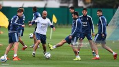 Javier Mascherano and Ezequiel Lavezzi of Argentina play with the ball during a training session at Argentine Football Association (AFA) 'Julio Humberto Grondona' training camp on November 09, 2015 in Ezeiza, Argentina. Argentina will face Brazil on November 12, 2015.