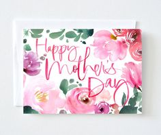Floral Watercolor Mother's Day Card by JulieSongInk on Etsy, $5.00