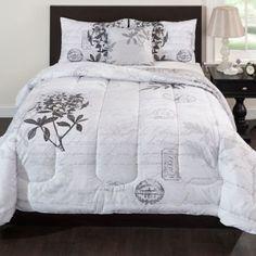 Laura Reversible Comforter Set in Grey - BedBathandBeyond.com