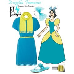 A fashion look from July 2014 featuring cutie dresses, patent leather wedge sandals and oblong scarves. Disney Inspired Fashion, Disney Fashion, Drizella Tremaine, Anastasia And Drizella, Cinderella Outfit, Casual Cosplay, Run Disney, Clothing Websites, Fun At Work