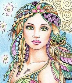 ~Bloudeuwedd~ The most famous myth dealing with the owl is in the story of… Coloring Book Pages, Whimsical Art, Face Art, Doodle Art, Mixed Media Art, Fantasy Art, Art Drawings, Illustration Art, Witches