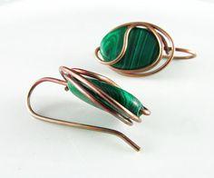 Wire Wrapped Earrings Emerald Copper Earrings by PolymerPlayin