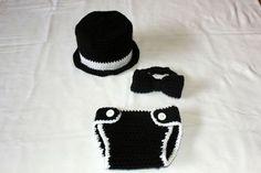 Crochet Baby Tuxedo Top Hat, Bow Tie & Diaper Cover Set - Newborn, Baby, Tiny Tux, Baby Tuxedo Set, Photo Prop, Picture Prop