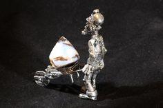 Genuine Australian Opal Gift, Comical Pewter Miner pushing Polished Boulder Opal Specimen in Wheelbarrow, Ornament for Curio Collector. #jewelry #jewelrymaking #jewelrydesign #boho #bohochic #gypsy #bohostyle #bohojewelry #opal #stone #gemstone #pearl #raw #bracelet #bolo #necklace #earring #ring #bolo #ornament