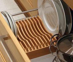 Wood Plate Rack For Vertical Plate Storage By Plate Storage Plate Racks In Kitchen Plate Racks