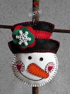 Wool Felt Snowman with Top Hat Ornament Hanger by FHGoldDesigns