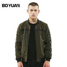 BOYUAN Plus Size 3XL Bomber Jacket Men Casual Regular Mens Coats Stand Collar Baseball Jackets Male Windbreaker Outerwear DSW40
