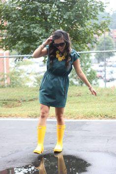{ yellow + teal on rainy days @Hunter Boots  }