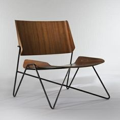 Janine Abraham and Dirk Rol    Lounge Chair, c. 1960    Lacquered tubular metal structure, molded plywood
