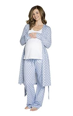This fabulous pj set is designed to make you feel gorgeous and comfy whether you are pregnant or nursing. Maternity Pjs, Maternity Lounge Wear, Maternity Dresses, Maternity Fashion, Pregnancy Fashion, Maternity Style, Pregnancy Must Haves, Pre Pregnancy, Nursing Pajamas