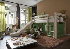 Infanskids Halbhohes Bett mit gerader Leiter und Rutsche mit Auslauf - Mann o Mann wohnen und mehr
