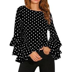 Women's Long Sleeve Blouse, Ladies Fashion Bell Sleeve Loose Polka Dot Shirt Ladies Casual Blouse Tops >>> To view further for this item, visit the image link. (This is an affiliate link) Cute Blouses, Plus Size Blouses, Shirt Blouses, Blouses For Women, Women's Shirts, Vestidos Plus Size, Polka Dot Shirt, Polka Dots, Black And White Blouse