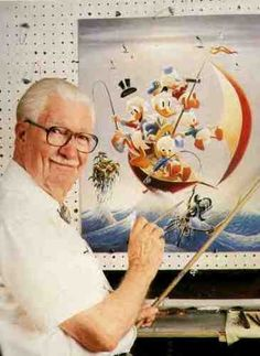 Carl Barks (1901 - 2000) Cartoonist, artist and painter. He is best known for creating Donald Duck and his extended family, including his uncle Scrooge McDuck, nephews Huey, Dewey and Louie, as well as cousin Gladstone Gander and inventor Gyro Gearloose.