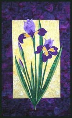Iris Quilt Pattern - The Virginia Quilter.  Iris are my favorite flowers, next to Orchids.
