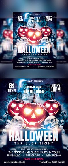 Night Of Halloween Party  Halloween Party Flyer Party Flyer And