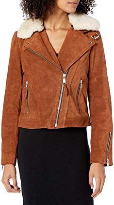Charis Allure Womens Collar Suede Leather Jackets Long Sleeve Short Moto Biker Coat