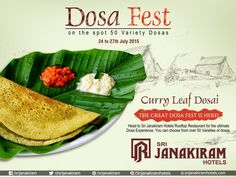 Curry Leaf Dosa - A Healthy flavourful green dosa now at DOSA FEST. Relish the real falvors of ‪#‎50_DOSA_VARIETIES‬ at #SrijanakiramHotels   #Rooftop_Restaurant‬  from 24th to 27th July. #DosaFest #FoodMela #FoodFestival #DosaVarieties