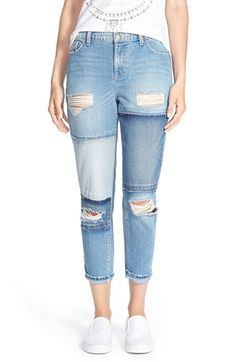 SP Black Destroyed Patchwork Crop Jeans