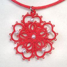 """Five Petal"" pendant in red by yarnplayer, via Flickr"