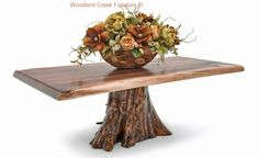 Natural cedar log coffee table with solid live edge walnut slab in antique barn wood finish for cabin, lodge, mountain decors made in American, USA Log End Tables, Log Coffee Table, Log Table, Rustic Log Furniture, Live Edge Furniture, Furniture Ideas, Wood Slab, Walnut Slab, Log Bedroom Sets