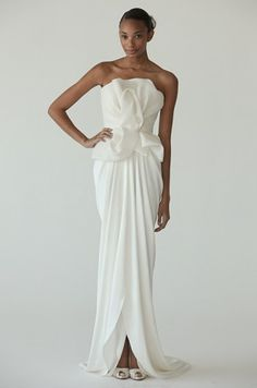 Trend: Peplum silhouettes. Gown by Marchesa.