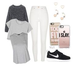 """Be Ready In A Sec..."" by yc1love ❤ liked on Polyvore featuring River Island, Toast, Monki, Topshop, NIKE, Casetify and Lipsy"