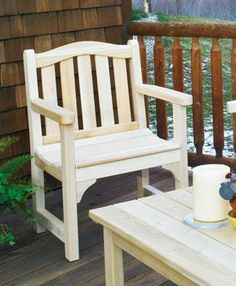 """Sherbrooke Chair -  Handcrafted from all Cedar, a durable, decay-resistant wood. Assembled joints are dowel pinned with weatherproof glue & Stainless steel screws. Sturdy armrests and countoured seats make the chair and bench comfortable companions. 35 1/2"""""""" H, 25 2/4"""""""" W."""