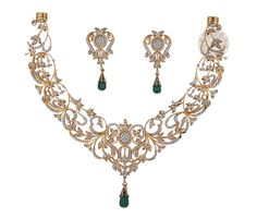 Vogue Crafts and Designs Pvt. is a wholesale manufacturer of Green Emerald and Gold Necklace. We are the exporter of diamond and gold jewelry at wholesale prices. Diamond Necklace Set, Diamond Jewelry, Gold Jewelry, Vintage Jewelry, Gold Necklace, Jewelry Design Earrings, Gold Jewellery Design, Stylish Jewelry, Fashion Jewelry