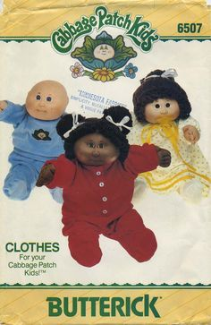 Vintage Doll Clothes Sewing Pattern | Cabbage Patch Kids® Clothes | Butterick 6507 | Year 1984 | One Size