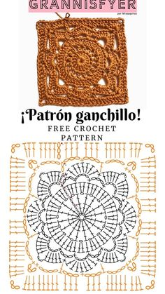 Crochet Stitches Chart, Crochet Motifs, Afghan Crochet Patterns, Crochet Basics, Knitting Patterns, Crochet Square Blanket, Granny Square Crochet Pattern, Crochet Diagram, Crochet Squares